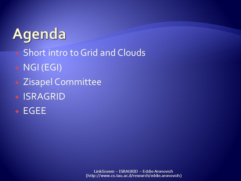 LinkSceem – ISRAGRID – Eddie Aronovich (http://www.cs.tau.ac.il/research/eddie.aronovich) Short intro to Grid and Clouds NGI (EGI) Zisapel Committee I