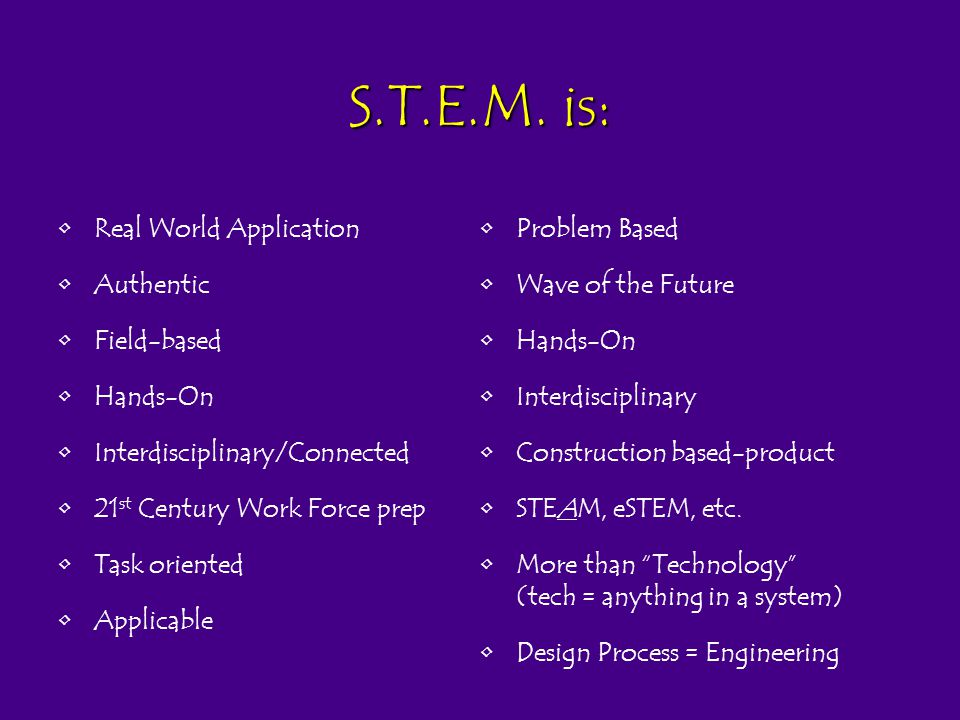 S.T.E.M. is: Real World Application Authentic Field-based Hands-On Interdisciplinary/Connected 21 st Century Work Force prep Task oriented Applicable