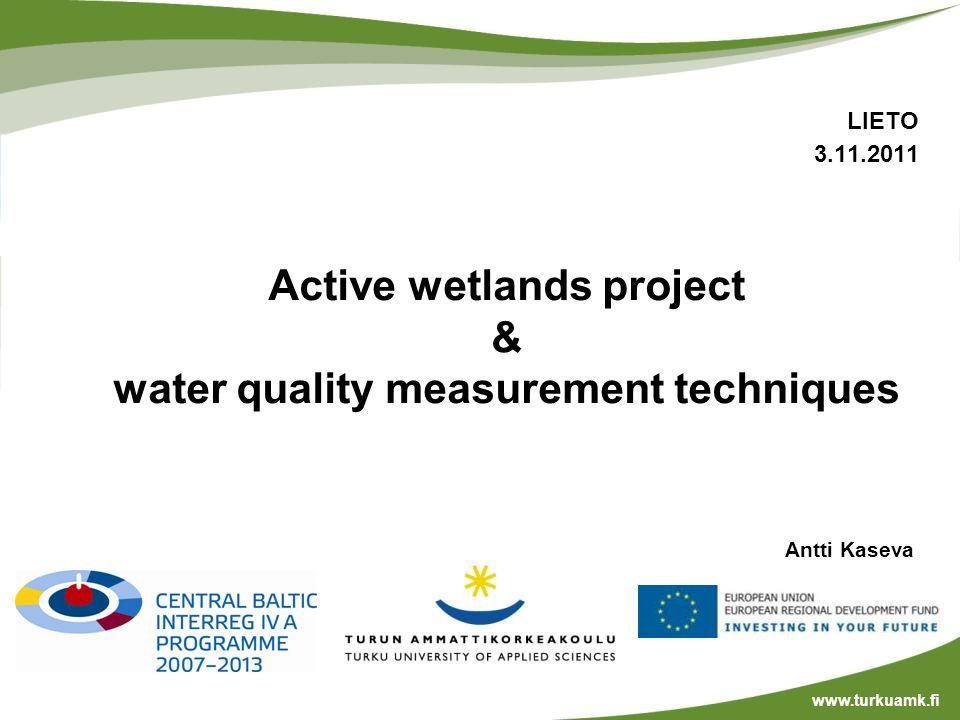Antti Kaseva www.turkuamk.fi LIETO 3.11.2011 Active wetlands project & water quality measurement techniques