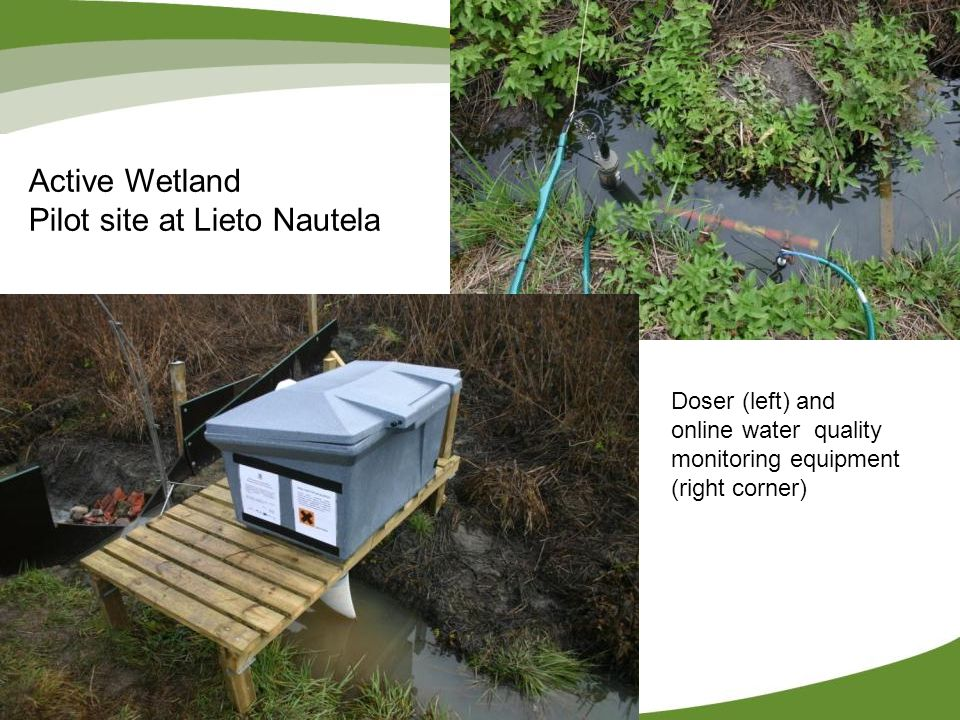 Active Wetland Pilot site at Lieto Nautela Doser (left) and online water quality monitoring equipment (right corner)