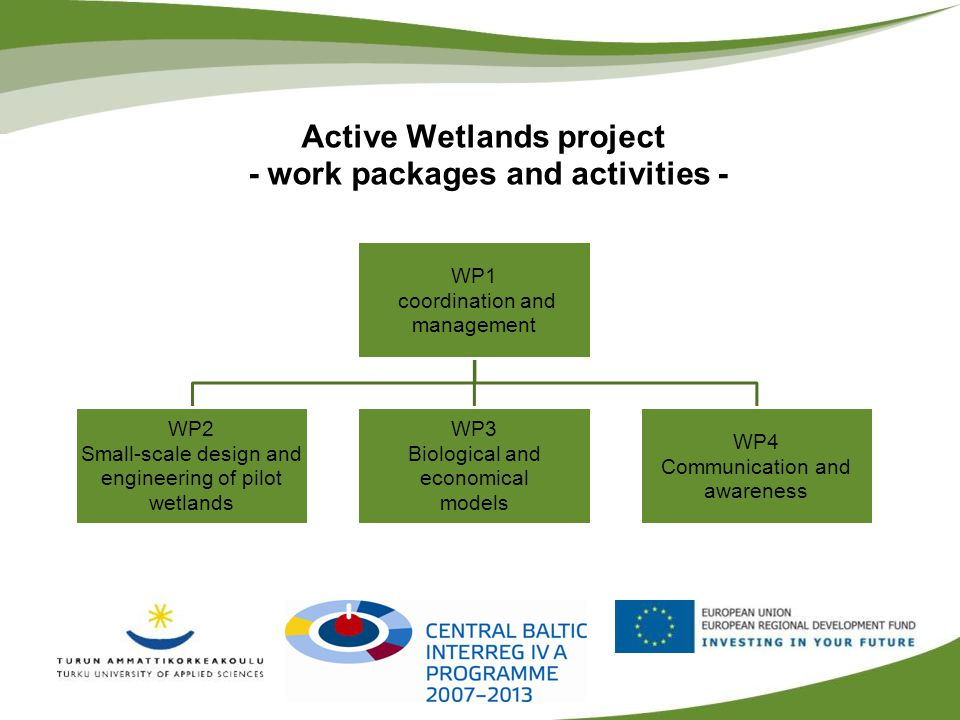 Active Wetlands project - work packages and activities - WP1 coordination and management WP2 Small-scale design and engineering of pilot wetlands WP3 Biological and economical models WP4 Communication and awareness