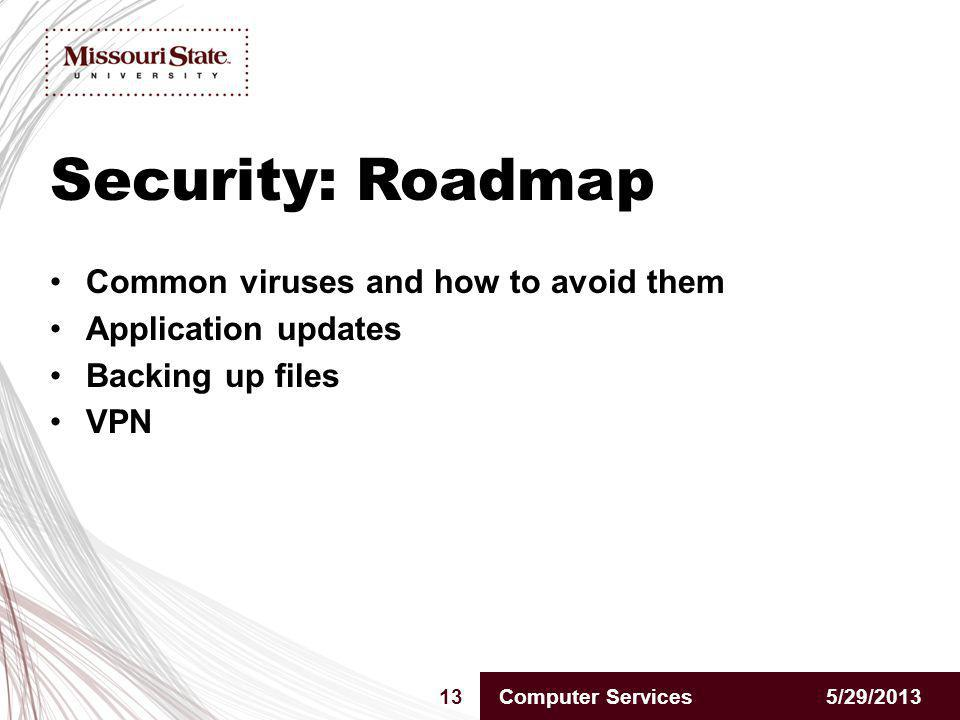 Security: Roadmap 5/29/201313Computer Services Common viruses and how to avoid them Application updates Backing up files VPN