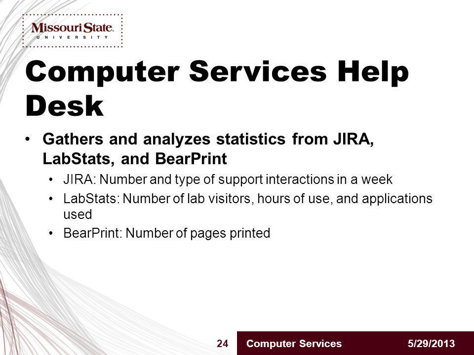 5/29/201324Computer Services Gathers and analyzes statistics from JIRA, LabStats, and BearPrint JIRA: Number and type of support interactions in a week LabStats: Number of lab visitors, hours of use, and applications used BearPrint: Number of pages printed Computer Services Help Desk