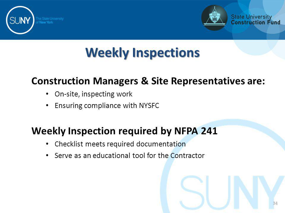 Construction Managers & Site Representatives are: On-site, inspecting work Ensuring compliance with NYSFC Weekly Inspection required by NFPA 241 Check