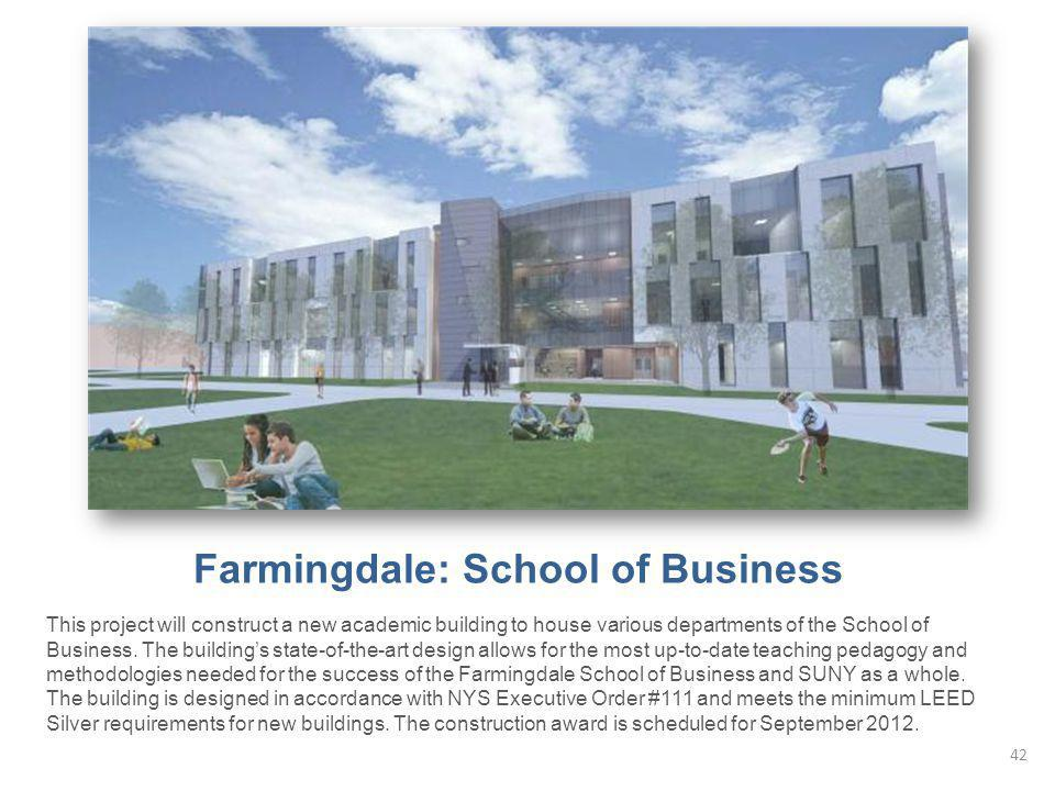 Farmingdale: School of Business This project will construct a new academic building to house various departments of the School of Business. The buildi