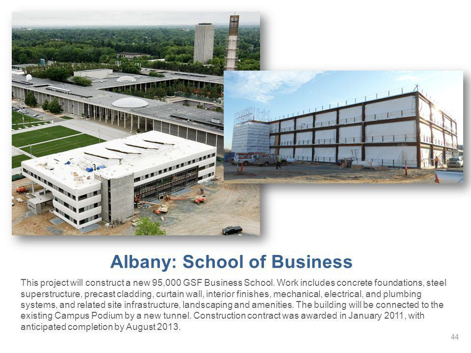 Albany: School of Business This project will construct a new 95,000 GSF Business School.