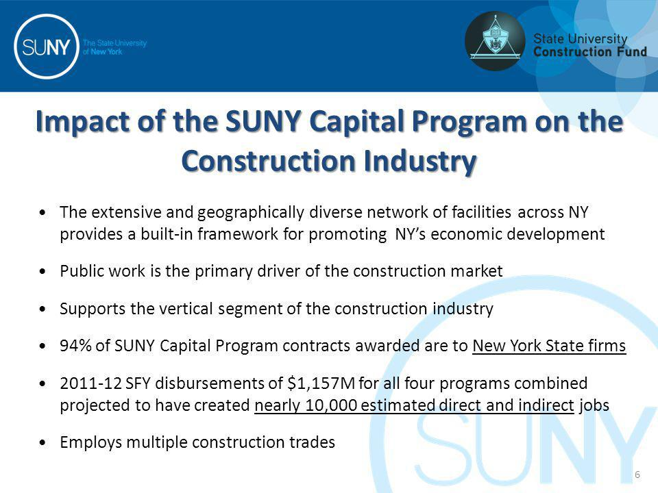 Impact of the SUNY Capital Program on the Construction Industry The extensive and geographically diverse network of facilities across NY provides a bu