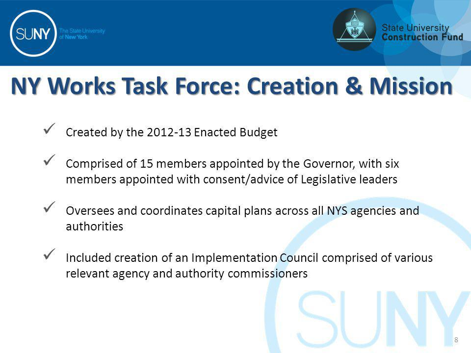 NY Works Task Force: Creation & Mission 8 Created by the 2012-13 Enacted Budget Comprised of 15 members appointed by the Governor, with six members ap