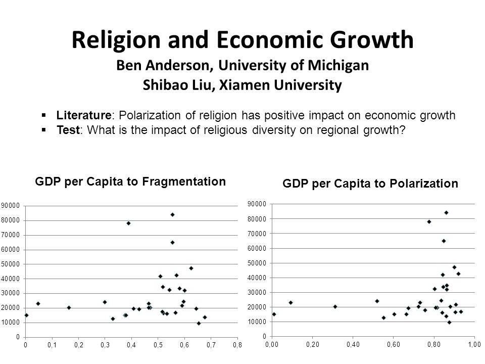 Religion and Economic Growth Ben Anderson, University of Michigan Shibao Liu, Xiamen University Literature: Polarization of religion has positive impa
