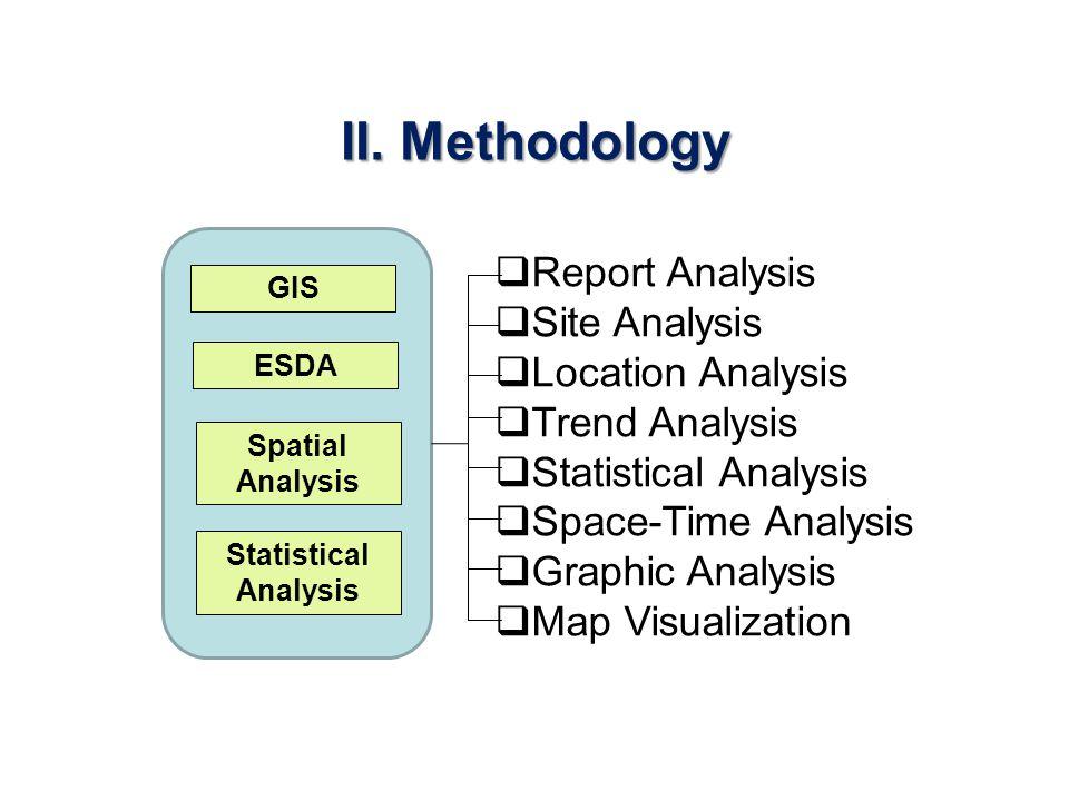 II. Methodology Report Analysis Site Analysis Location Analysis Trend Analysis Statistical Analysis Space-Time Analysis Graphic Analysis Map Visualiza