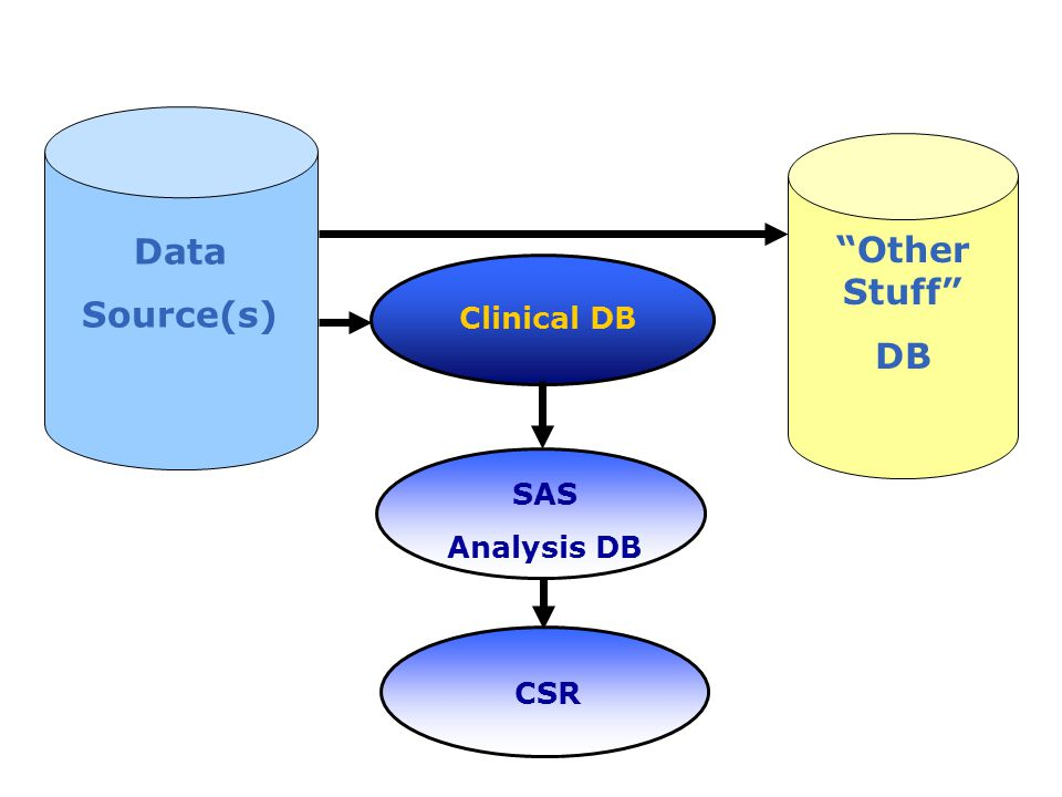 Data Source(s) Other Stuff DB Clinical DB SAS Analysis DB CSR