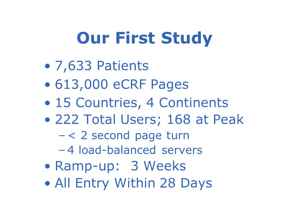 Our First Study 7,633 Patients 613,000 eCRF Pages 15 Countries, 4 Continents 222 Total Users; 168 at Peak –< 2 second page turn –4 load-balanced servers Ramp-up:3 Weeks All Entry Within 28 Days