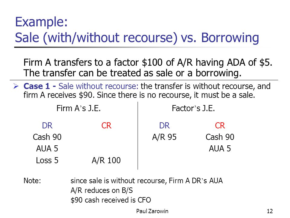 Paul Zarowin12 Example: Sale (with/without recourse) vs.