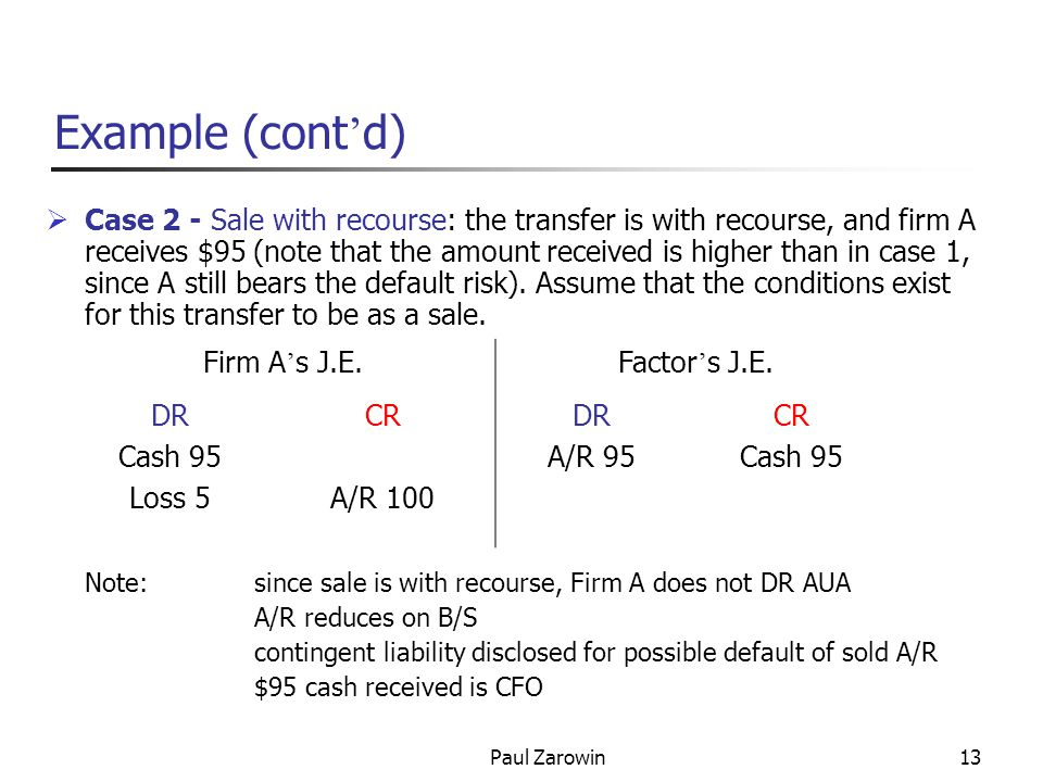 Paul Zarowin13 Example (cont d) Case 2 - Sale with recourse: the transfer is with recourse, and firm A receives $95 (note that the amount received is higher than in case 1, since A still bears the default risk).
