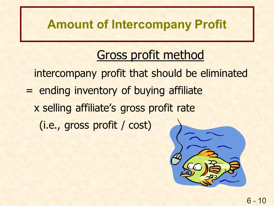 6 - 10 Amount of Intercompany Profit Gross profit method intercompany profit that should be eliminated = ending inventory of buying affiliate x sellin