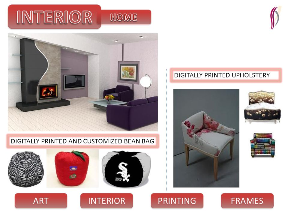 PRINTING INTERIOR FRAMES ART DIGITALLY PRINTED AND CUSTOMIZED BEAN BAG DIGITALLY PRINTED UPHOLSTERY