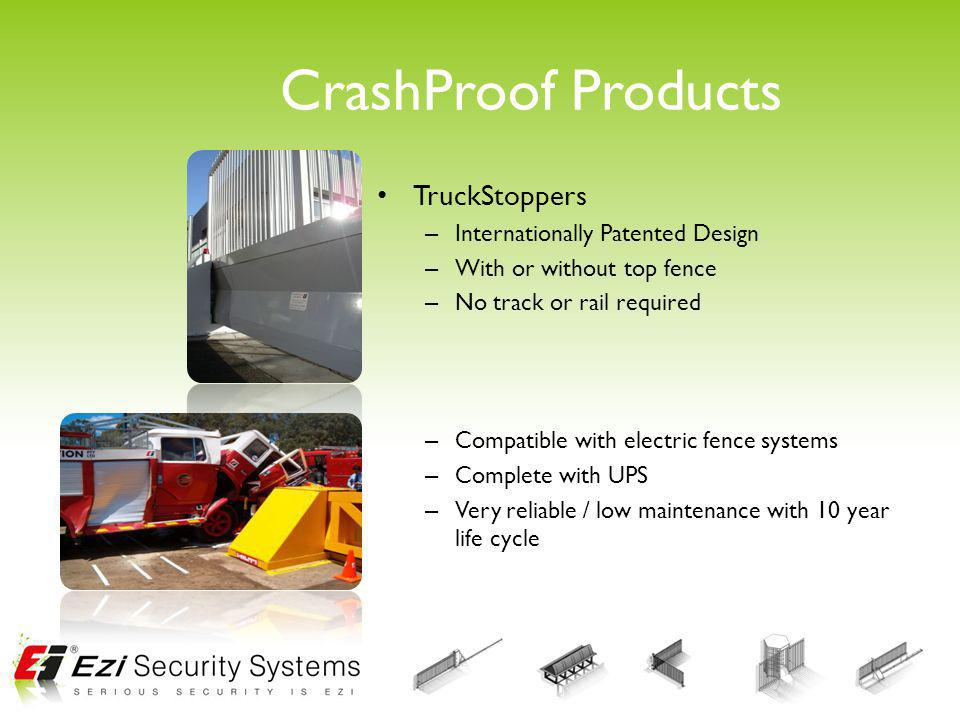 CrashProof Products TruckStoppers – Internationally Patented Design – With or without top fence – No track or rail required – Compatible with electric