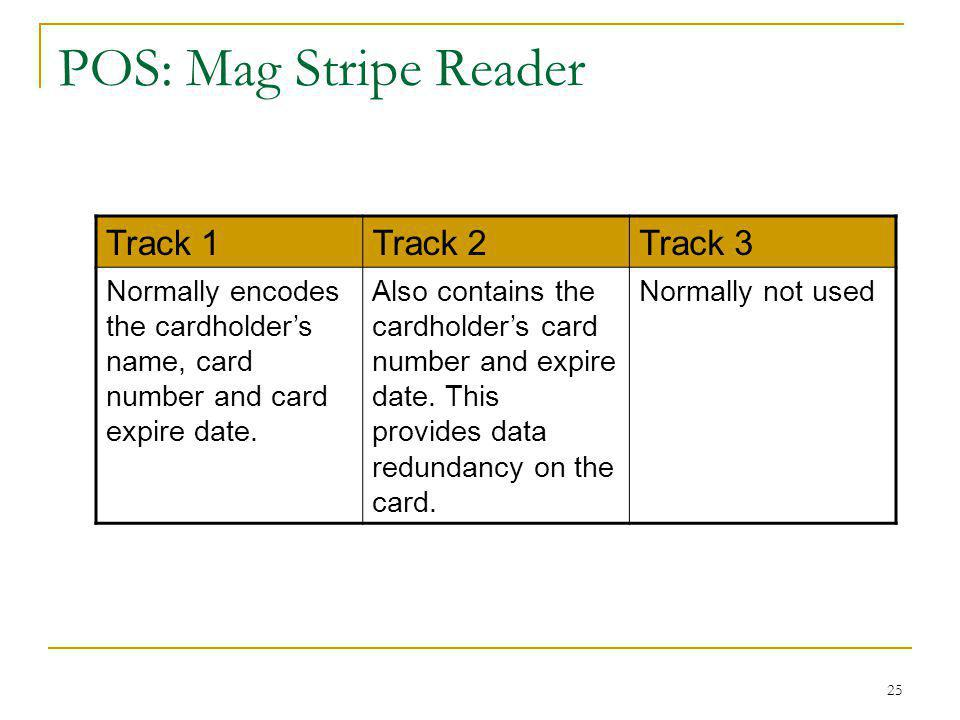 25 POS: Mag Stripe Reader Track 1Track 2Track 3 Normally encodes the cardholders name, card number and card expire date. Also contains the cardholders
