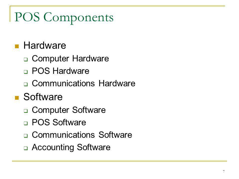 7 POS Components Hardware Computer Hardware POS Hardware Communications Hardware Software Computer Software POS Software Communications Software Accou