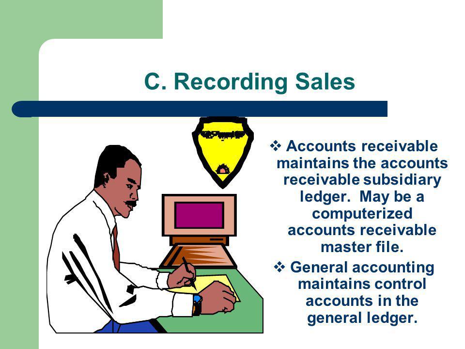 C.Recording Sales Accounts receivable maintains the accounts receivable subsidiary ledger.