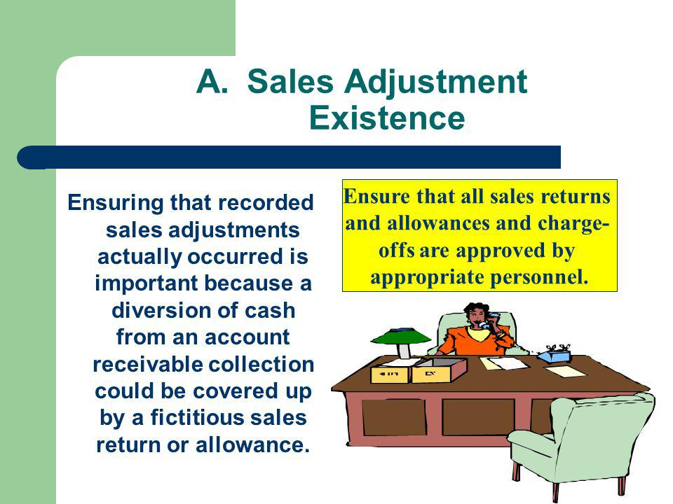A.Sales Adjustment Existence Ensuring that recorded sales adjustments actually occurred is important because a diversion of cash from an account receivable collection could be covered up by a fictitious sales return or allowance.