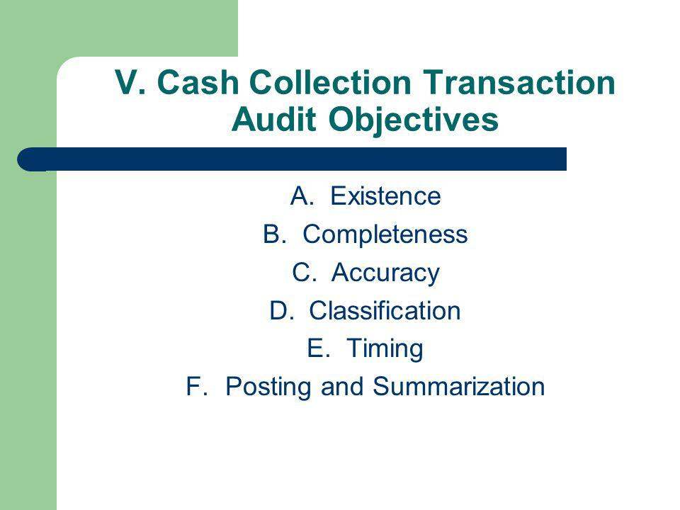 V. Cash Collection Transaction Audit Objectives A.Existence B.Completeness C.Accuracy D.Classification E.Timing F.Posting and Summarization