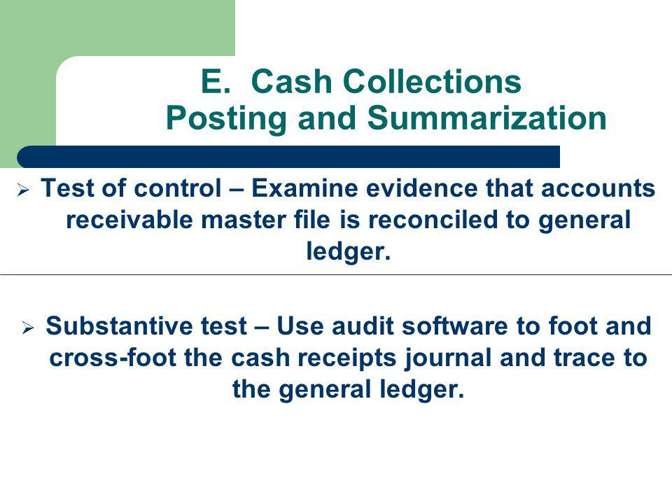 E. Cash Collections Posting and Summarization Test of control – Examine evidence that accounts receivable master file is reconciled to general ledger.