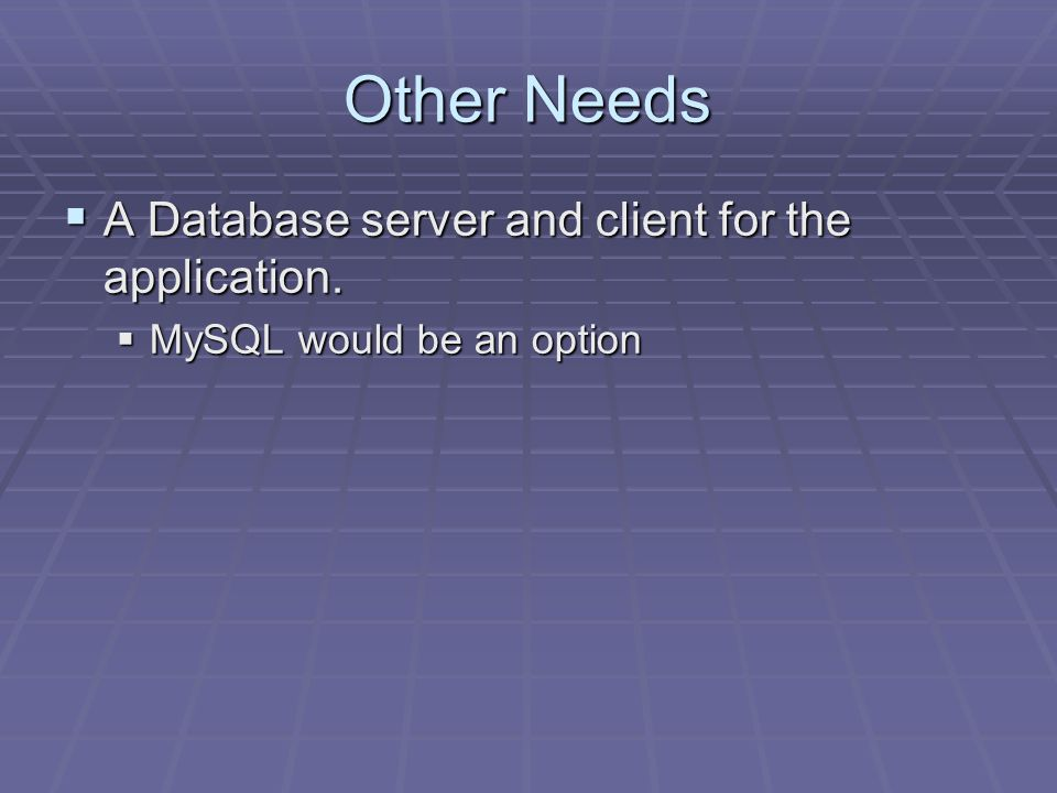 Other Needs A Database server and client for the application.