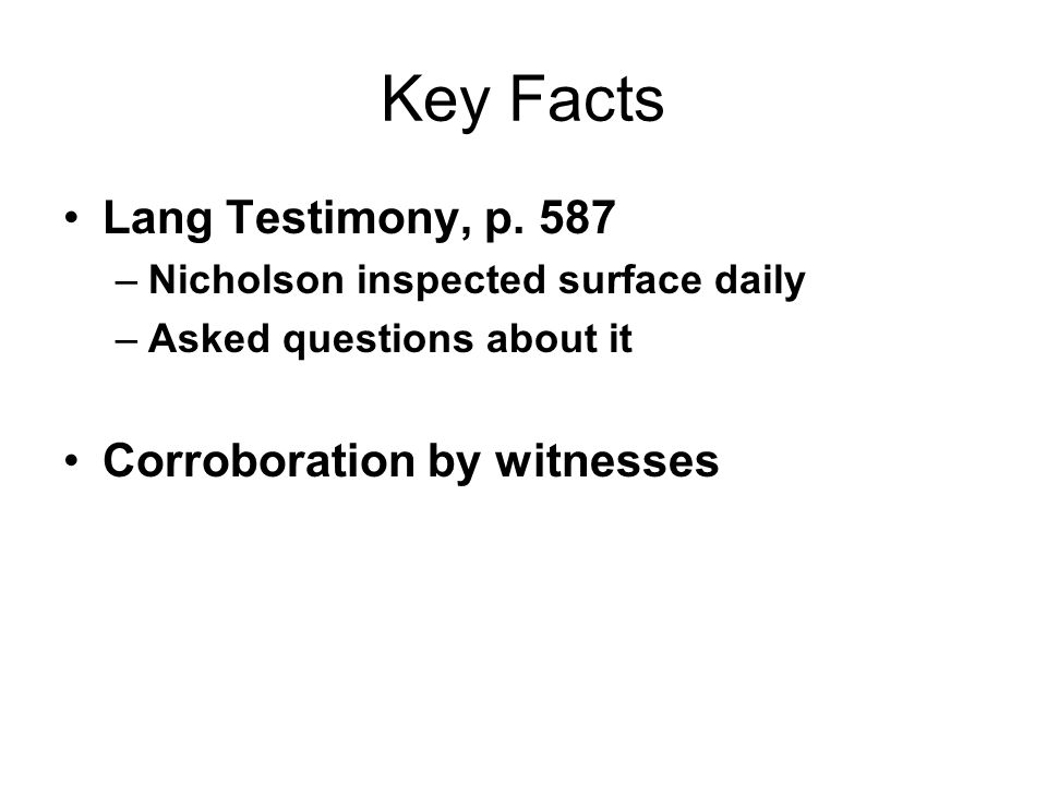 Key Facts Lang Testimony, p.