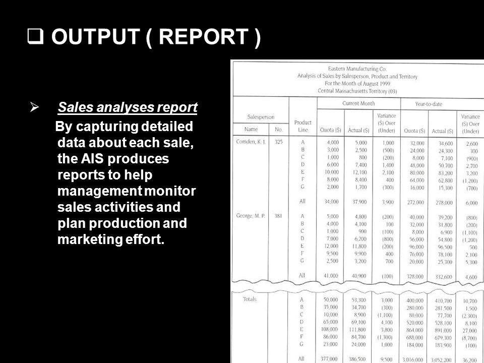 OUTPUT ( REPORT ) Sales analyses report By capturing detailed data about each sale, the AIS produces reports to help management monitor sales activities and plan production and marketing effort.