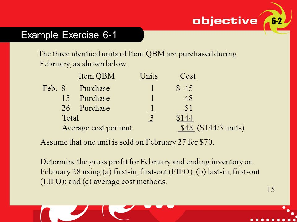 Click to edit Master title style Example Exercise 6-1 The three identical units of Item QBM are purchased during February, as shown below.