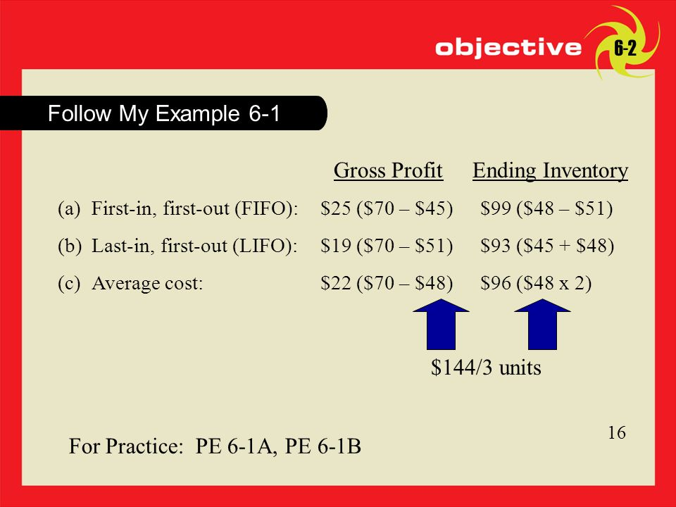 Click to edit Master title style 8 8 Follow My Example For Practice: PE 6-1A, PE 6-1B Gross ProfitEnding Inventory (a)First-in, first-out (FIFO):$25 ($70 – $45)$99 ($48 – $51) (b)Last-in, first-out (LIFO):$19 ($70 – $51)$93 ($45 + $48) (c)Average cost:$22 ($70 – $48)$96 ($48 x 2) $144/3 units