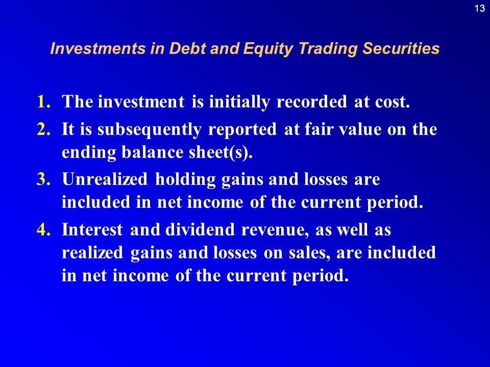 13 Investments in Debt and Equity Trading Securities 1.The investment is initially recorded at cost.