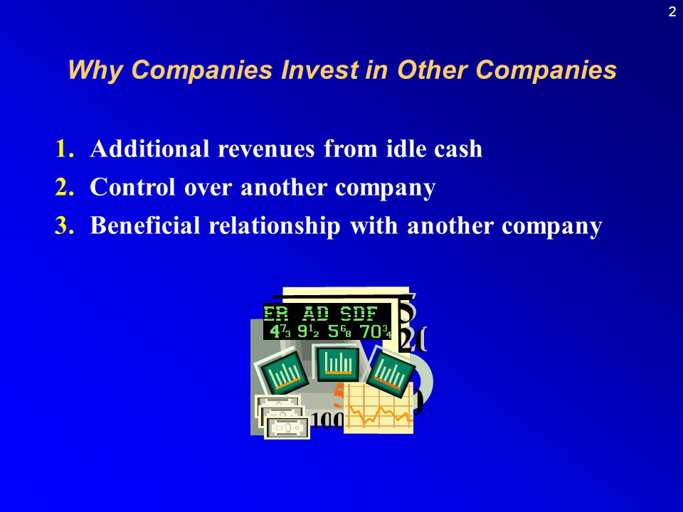2 1.Additional revenues from idle cash 2.Control over another company 3.Beneficial relationship with another company Why Companies Invest in Other Companies