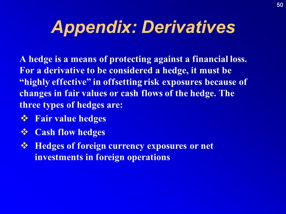 50 Appendix: Derivatives A hedge is a means of protecting against a financial loss.