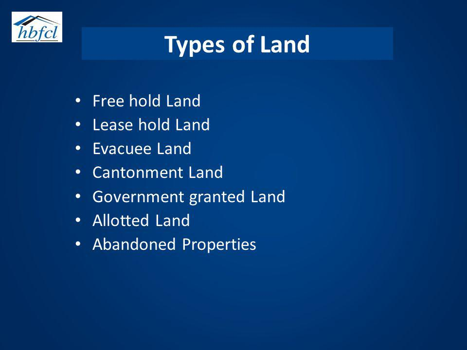 Types of Land Free hold Land Lease hold Land Evacuee Land Cantonment Land Government granted Land Allotted Land Abandoned Properties