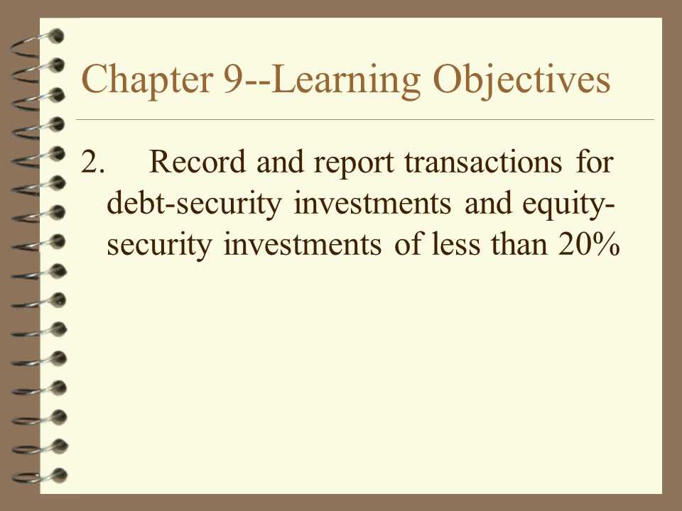 Chapter 9--Learning Objectives 2.Record and report transactions for debt-security investments and equity- security investments of less than 20%