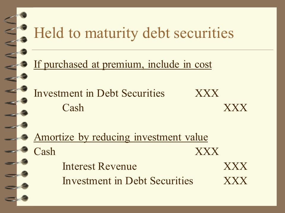 Held to maturity debt securities If purchased at premium, include in cost Investment in Debt SecuritiesXXX CashXXX Amortize by reducing investment val