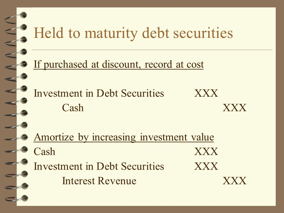 Held to maturity debt securities If purchased at discount, record at cost Investment in Debt SecuritiesXXX CashXXX Amortize by increasing investment v