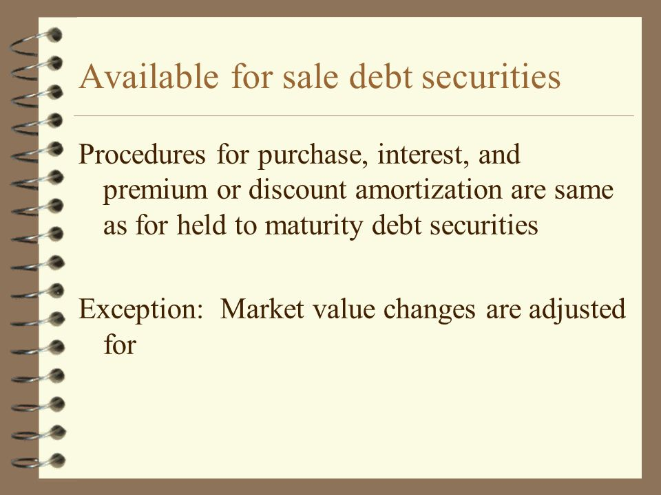 Available for sale debt securities Procedures for purchase, interest, and premium or discount amortization are same as for held to maturity debt secur