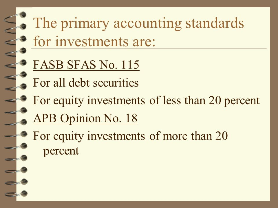The primary accounting standards for investments are: FASB SFAS No. 115 For all debt securities For equity investments of less than 20 percent APB Opi