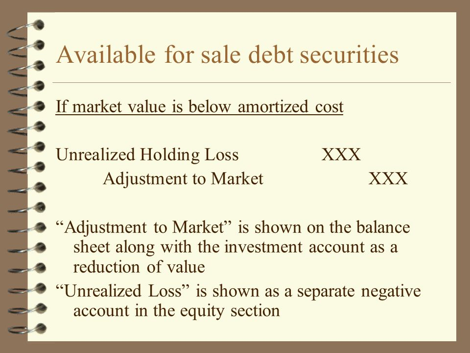 Available for sale debt securities If market value is below amortized cost Unrealized Holding LossXXX Adjustment to MarketXXX Adjustment to Market is