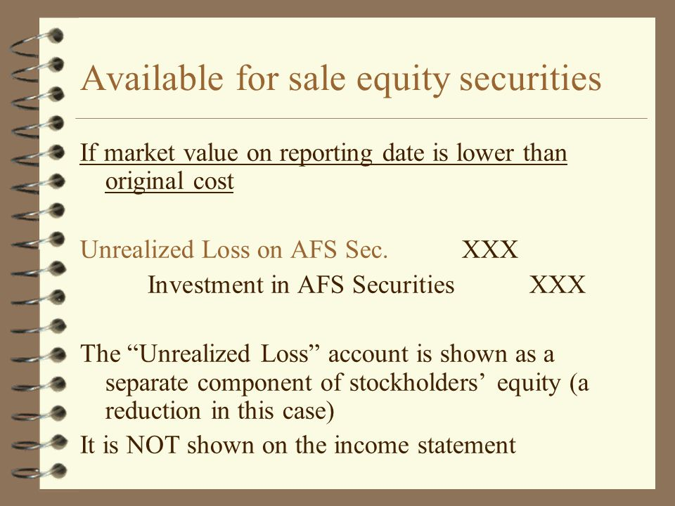 Available for sale equity securities If market value on reporting date is lower than original cost Unrealized Loss on AFS Sec.XXX Investment in AFS Se