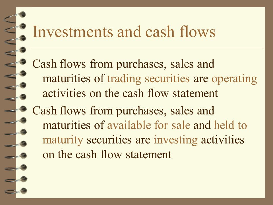 Investments and cash flows Cash flows from purchases, sales and maturities of trading securities are operating activities on the cash flow statement C