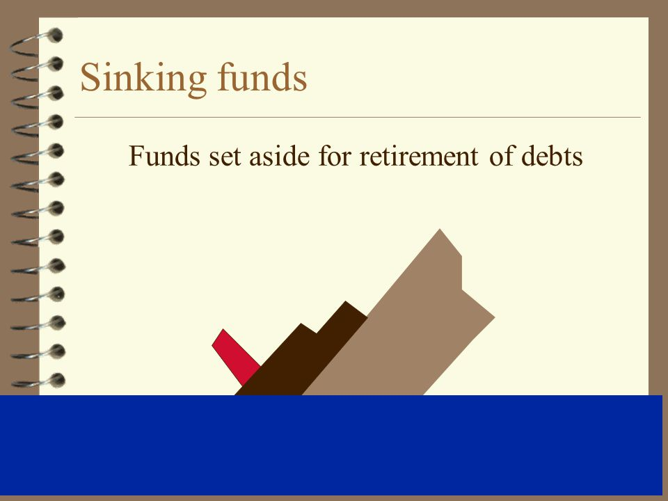 Sinking funds Funds set aside for retirement of debts