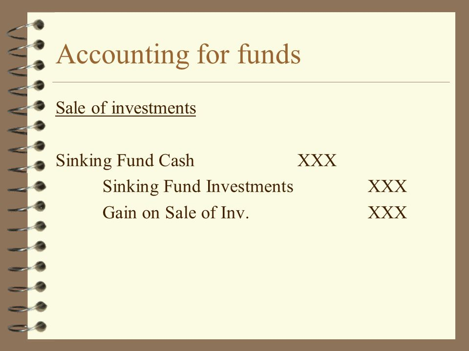 Accounting for funds Sale of investments Sinking Fund CashXXX Sinking Fund InvestmentsXXX Gain on Sale of Inv.XXX