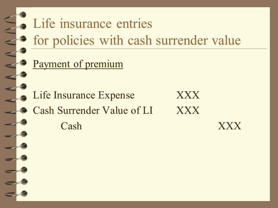 Life insurance entries for policies with cash surrender value Payment of premium Life Insurance ExpenseXXX Cash Surrender Value of LIXXX CashXXX