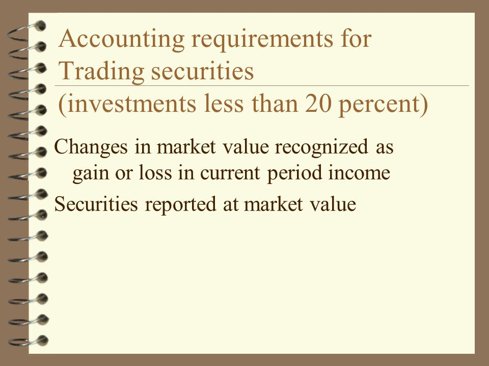 Transfers between categories Base classification on management intent Transfer between categories based on fair market value at time of transfer Recognize any unrealized holding gain or loss at time of transfer Include in income for securities transferred into or from trading category Show as separate stockholders equity item for securities transferred into available for sale category from held-to-maturity