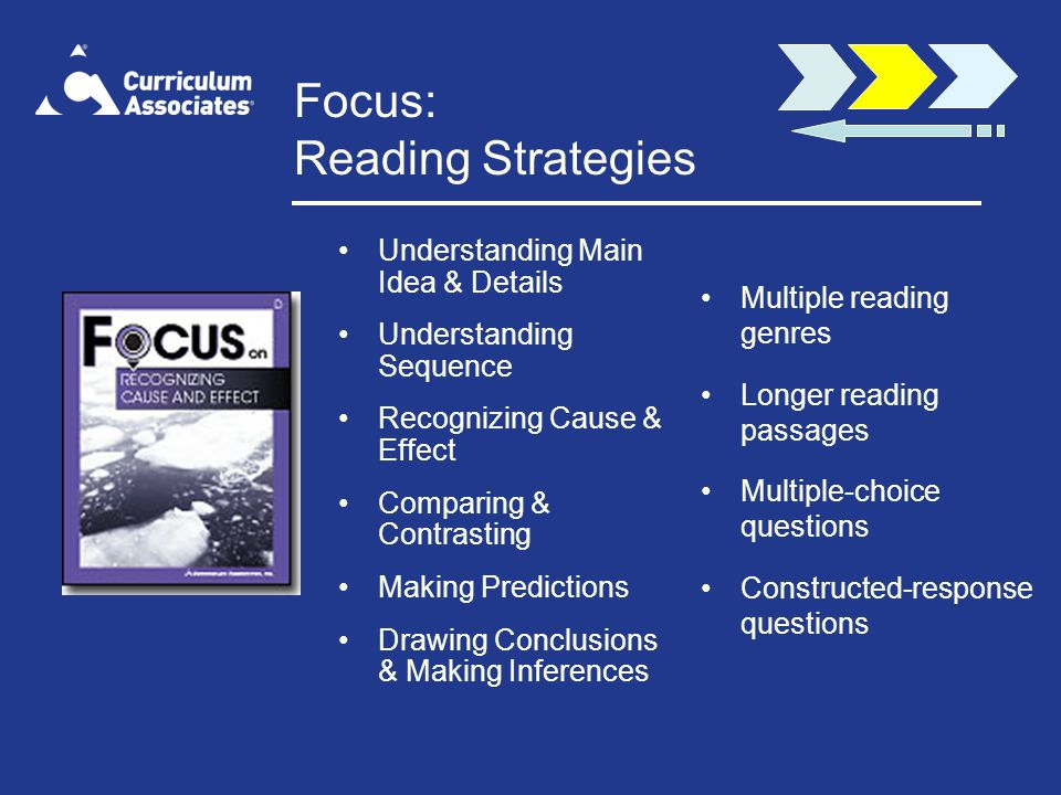 Focus: Reading Strategies Understanding Main Idea & Details Understanding Sequence Recognizing Cause & Effect Comparing & Contrasting Making Predictions Drawing Conclusions & Making Inferences Multiple reading genres Longer reading passages Multiple-choice questions Constructed-response questions