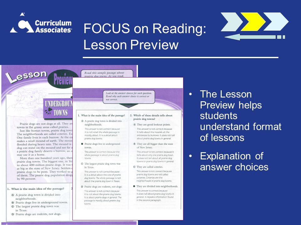 FOCUS on Reading: Lesson Preview The Lesson Preview helps students understand format of lessons Explanation of answer choices